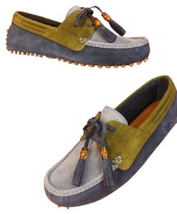 Gucci Mens Blue Two Tone Suede Damo Bamboo Tassel Driver Loafers 11 #367923