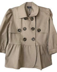 Priorities 3/4 Sleeve Khaki Spring Ruffle Beige Jacket