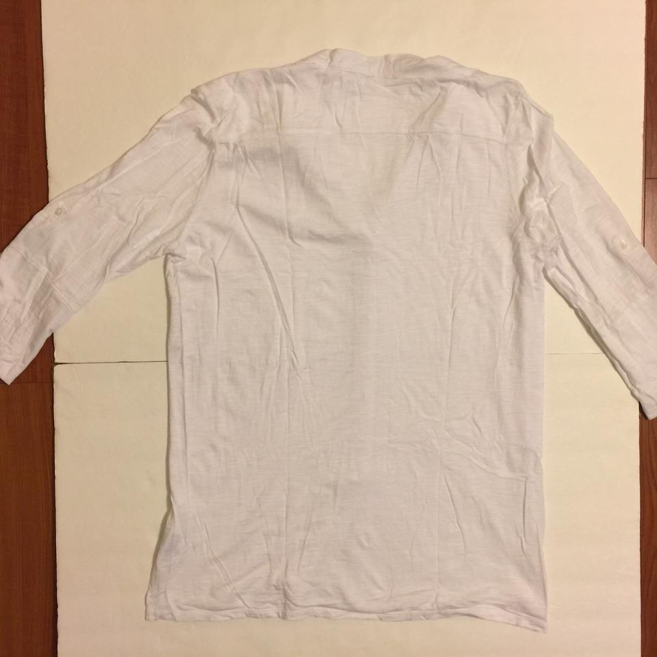 63f8229f1 James Perse White Button Front Tee Shirt Size 16 (XL, Plus 0x) - Tradesy