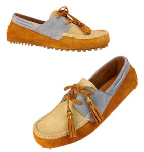 Gucci Beige/Light Blue/Tabacco Mens Multicolor Suede Bamboo Tassel Driver Loafer 10.5 11.5 367923 Shoes