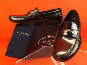 Prada Black Mens Glazed Leather Metal Plate Logo Driver Loafers 9.5 10.5 Shoes