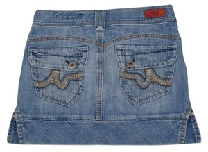 AG Adriano Goldschmied Jean Studded Distressed Mini Skirt Blue