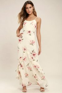 cream Maxi Dress by Lulu*s Ivory Floral Pink Maxi