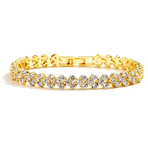Mariell Gold Brilliant Crystal Bridal Bracelet