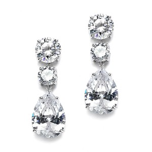 Mariell Bold Shape Cubic Zirconia Wedding Or Party Earrings 3655e