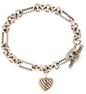 David Yurman Sterling silver 18K gold David Yurman Heart wheat chain link bracelet