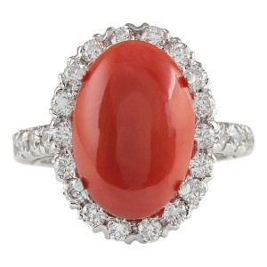 Fashion Strada 7.35 CTW Natural Red Coral And Diamond Ring 14K Solid White Gold