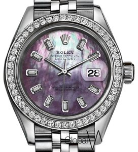 Rolex Rolex Purple Unicorn Vomit 26MM Small Girls Watch Diamond Baguette SS