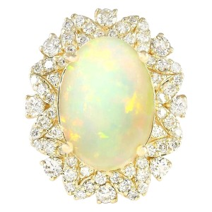 Fashion Strada 7.68 CTW Natural Opal And Diamond Ring In 14k Yellow Gold