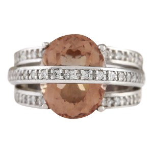 Fashion Strada 8.05 CTW Natural Morganite And Diamond Ring 14k Solid White Gold