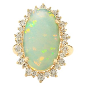 Fashion Strada 8.09 CTW Natural Opal And Diamond Ring In 14k Yellow Gold
