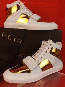 Gucci Mens White Miro Soft Leather Hi Top Studded Limited Sneakers 9.5 10.5