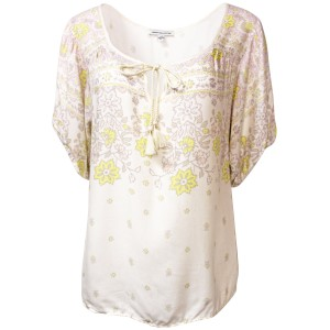 American Eagle Outfitters Floral Viscose Machine Wash Top Ivory