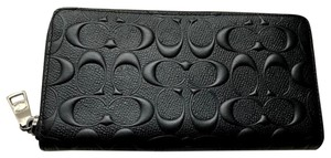Coach NEW COACH mens Embossed signature leather zip around phone long wallet