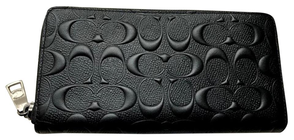 9202dc785974c Coach Black New Mens Embossed Signature Leather Zip Around Phone Long Wallet