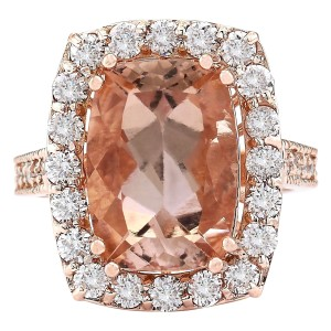 Fashion Strada 8.31 CTW Natural Morganite And Diamond Ring In 14k Rose Gold
