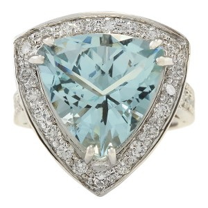 Fashion Strada 8.48 CTW Natural Aquamarine And Diamond Ring In 14k White Gold