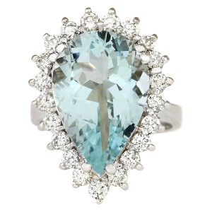 Fashion Strada 8.62 CTW Natural Aquamarine And Diamond Ring In 14K Solid White Gold