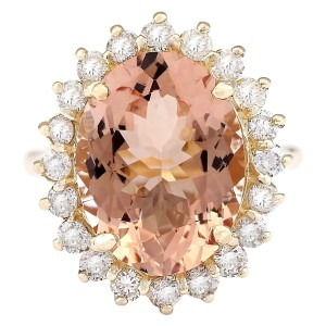 Fashion Strada 8.66 CTW Natural Morganite And Diamond Ring In 14k Solid Yellow Gold