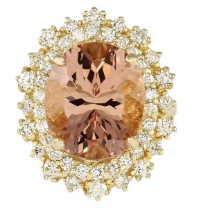 Fashion Strada 8.70 CTW Natural Morganite And Diamond Ring In 14k Solid Yellow Gold