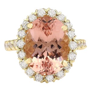 Fashion Strada 8.79 CTW Natural Morganite And Diamond Ring In 14K Solid Yellow Gold