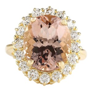 Fashion Strada 8.85 CTW Natural Morganite And Diamond Ring In 14k Solid Yellow Gold