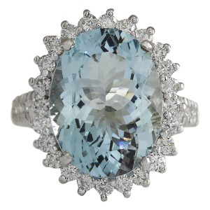 Fashion Strada 9.04 CTW Natural Aquamarine And Diamond Ring In 14k Solid White Gold