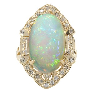 Fashion Strada 9.05 CTW Natural Opal And Diamond Ring In 14k Yellow Gold
