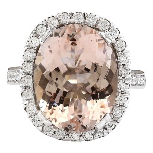 Fashion Strada 9.47 CTW Natural Morganite And Diamond Ring In 14k White Gold