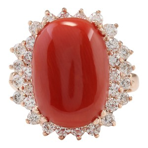 Fashion Strada 9.53 CTW Natural Coral And Diamond Ring In 14k Rose Gold