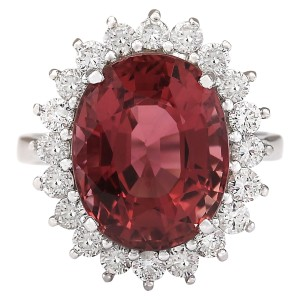 Fashion Strada 9.85 CTW Natural Pink Tourmaline And Diamond Ring 14k Solid White Gold