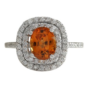 Fashion Strada 3.13 CTW Natural Orange Sapphire And Diamond Ring In14k White Gold