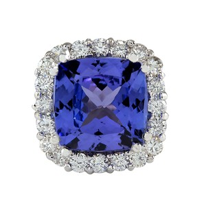 Fashion Strada 5.33CTW Natural Blue Tanzanite And Diamond Ring 14K Solid White Gold