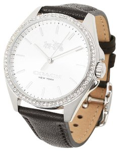 Coach Coach Tristen Black Leather Silver Steel Glitz Watch 14502474