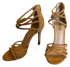 4e74748c8d Forever 21 Faux Suede Heel Zipper Strappy Sexy Luggage Tan Sandals