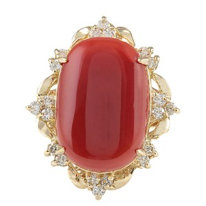 Fashion Strada 12.38CTW Natural Coral And Diamond Ring In 14K Yellow Gold