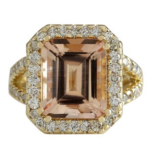 Fashion Strada 6.92CTW Natural Peach Morganite And Diamond Ring In 14K Solid Yellow G