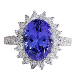 Fashion Strada 3.31CTW Natural Blue Tanzanite And Diamond Ring In 14K White Gold
