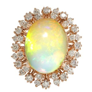 Fashion Strada 7.99CTW Natural Opal And Diamond Ring In 14K Rose Gold