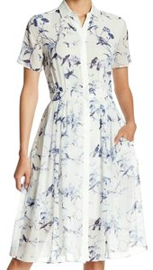 Other short dress white/blue Midi Midi 6 Button Down Bird Print White on Tradesy