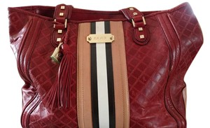L.A.M.B. All Leather Embossed Monogram Tote in Red/tan stripe