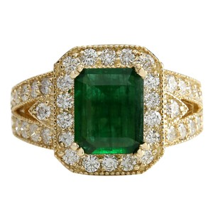 Fashion Strada 3.29CTW Natural Emerald And Diamond Ring 14K Solid Yellow Gold