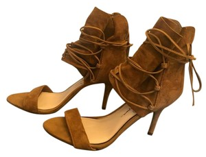 Jessica Simpson Ankle Wrap Ankle Tie Strappy Suede Tan Sandals