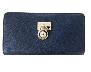 Michael Kors NWT MICHAEL KORS HAMILTON LARGE ZIP AROUND WALLET CLUTCH BAG NAVY