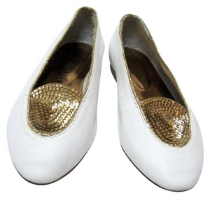 Joan & David Sequins Hand Made In Italy white/gold Flats