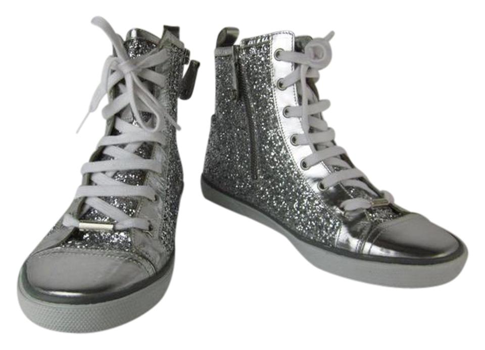 0988faba009 Jimmy Choo Silver Sparkly Leather   Logo Sz  M Sneakers Size US 9 ...