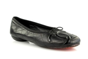 Chanel Leather Cc Quilted Cambon Black Flats