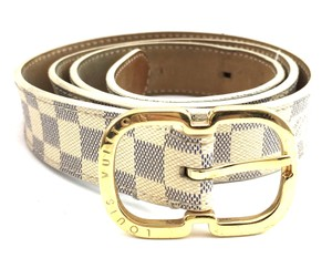 Louis Vuitton #11624 Damier Azur gold buckle leather Belt size 85/34