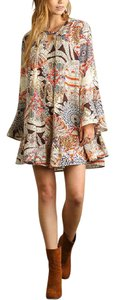 Nabisplace short dress Beige Printed Bell Sleeve Floral Tunic on Tradesy