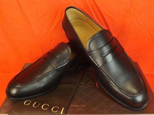 Gucci Black Mens Patmos Leather Interlocking Dress Penny Loafer 9 10 368456 Shoes